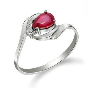 14K. SOLD GOLD RING WITH NATURAL DIAMOND & RUBY
